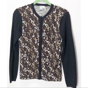 W by Worth wool leopard print cardigan sweater P